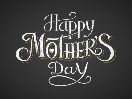 mother day: Happy Mothers Day. Chalk lettering. Illustration