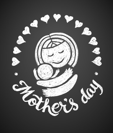 Mothers Day. Chalk drawing. Black and white  イラスト・ベクター素材