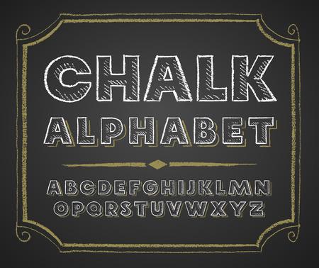 Decorative capital letters hand drawn on a chalkboard. Vektoros illusztráció