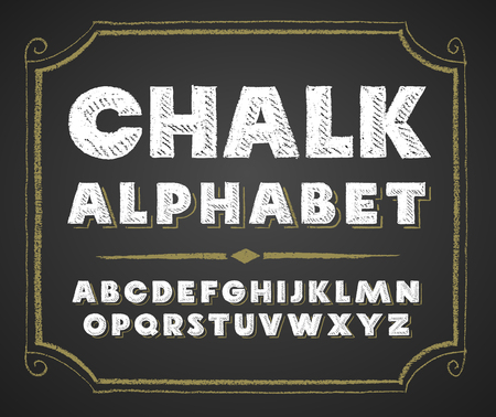 Decorative capital letters hand drawn on a chalkboard.