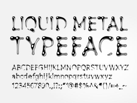 액체 금속 활자체. 편지 AZ, az, 숫자 및 기호. 하나의 글로벌 컬러 일러스트