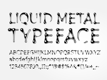 liquid metal typeface. Letters A-Z, a-z, numbers and symbols. One global color