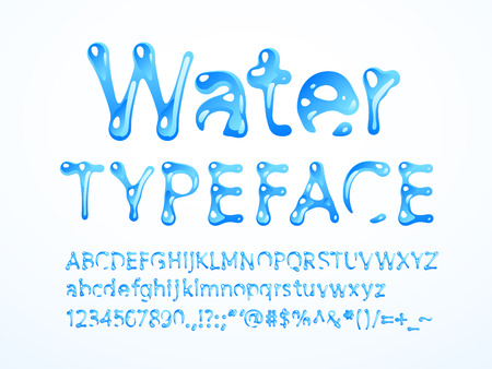 water typeface. Letters A-Z, a-z, numbers and symbols. RGB. Global colors