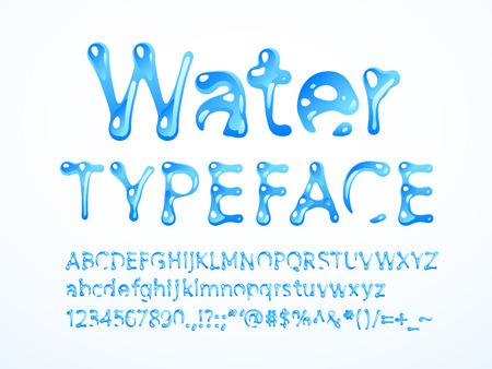 water typeface. Letters A-Z, a-z, numbers and symbols. RGB. Global colors Ilustração Vetorial