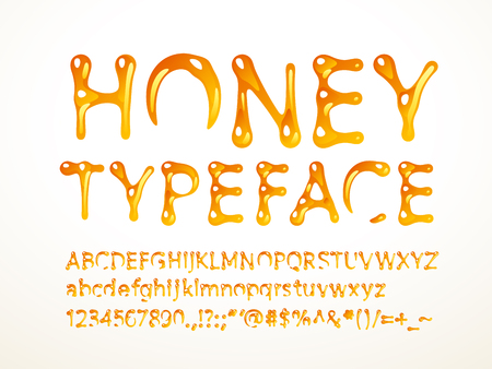 honey typeface. Letters A-Z, a-z, numbers and symbols. RGB. Global colors Vetores