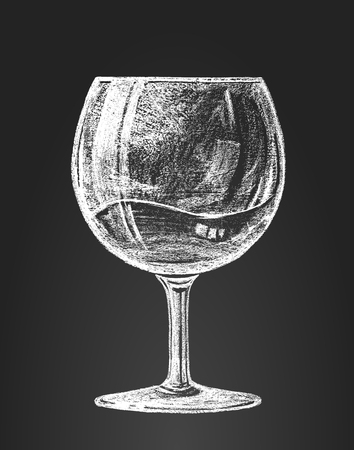 glass of red wine: wineglass on blackboard.  RGB. Global colors. Organized by layers. Gradients free