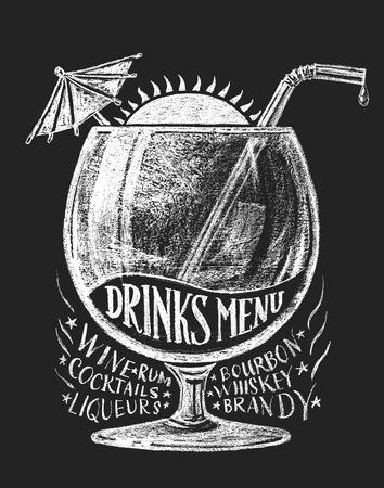 organized: Drinks menu drawn on blackboard.  RGB. Global colors. Organized by layers. Gradients free