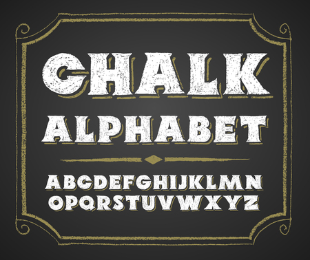 alphabetical order: Decorative capital letters hand drawn on a chalkboard.  RGB. Global colors Illustration