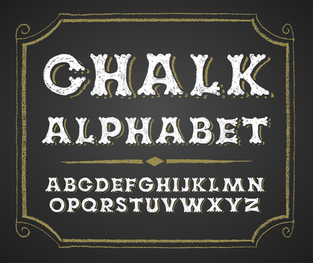 alphabetical order: Decorative capital letters  on a chalkboard. RGB. Global colors Illustration