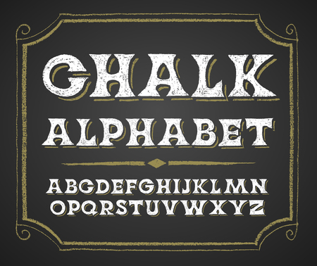 alphabetical order: Decorative capital letters on a chalkboard. RGB. Global colors