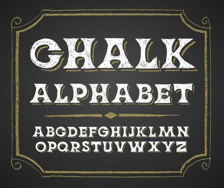 abecedario graffiti: mayúsculas decorativas en una pizarra. RGB. Mundial de colores Vectores