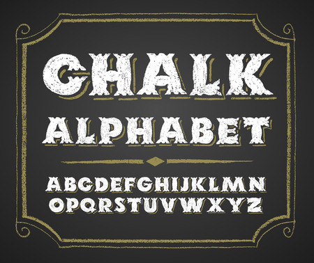 alphabetical order: Decorative capital letters  on a chalkboard.RGB. Global colors
