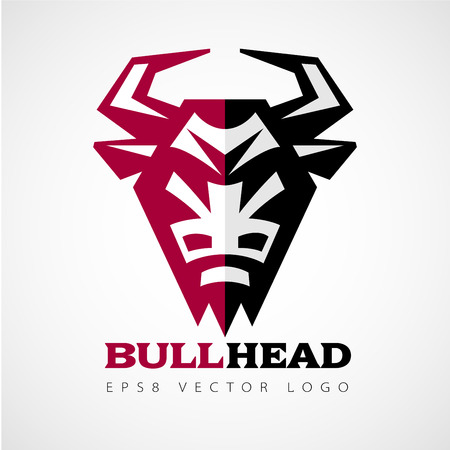 Vector logo with bull head in front view. Eps8. RGB. Global colors