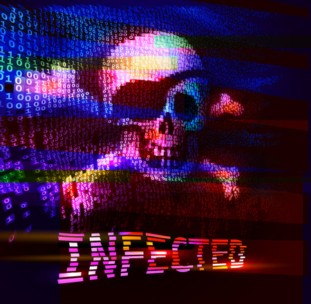 infected: Skull and crossbones on binary code with message of infection. Eps10. RGB. Global colors Illustration