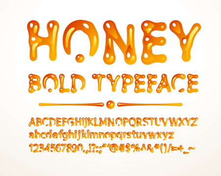 Vector honey bold typeface. Letters A-Z, a-z, numbers and symbols