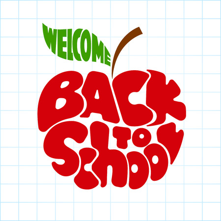 inscribed: Back to school. Lettering inscribed in the outline of an apple. Eps8. RGB. Global colors