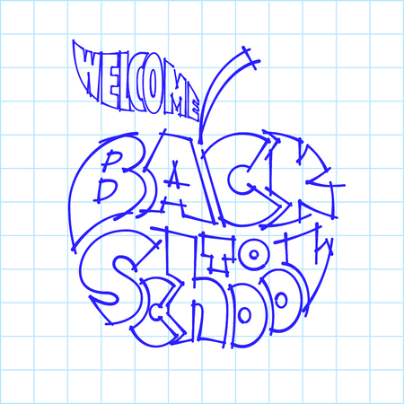 inscribed: Back to school. Ink lettering inscribed in the outline of an apple. Eps8. RGB. Global colors