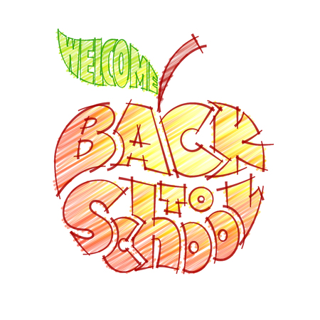 crayons: Back to school. Pencil lettering inscribed in the outline of an apple. Eps10. RGB. Global colors
