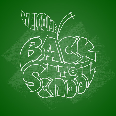 inscribed: Back to school. Chalk lettering inscribed in the outline of an apple. Eps10. RGB. Global colors