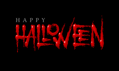Lettrage sanglant Halloween sur fond noir. Eps8. RVB. Couleurs globales
