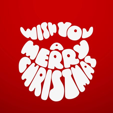 Merry Christmas. Chalk lettering with Santa Claus beard. Eps8. RGB. Global colors