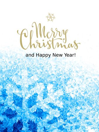 Buon Natale e felice anno nuovo Lettering su sfondo di ghiaccio. Eps8. RGB. Colori globali
