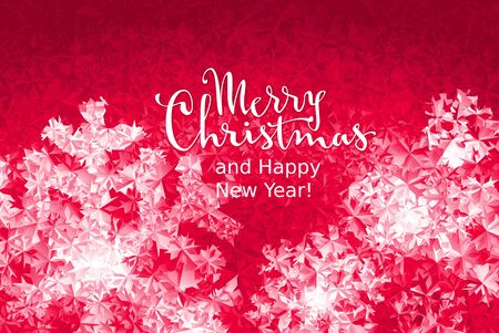 Merry Christmas and Happy New Year Lettering on ice background. Eps8. RGB. Global colors