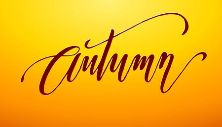 autumn colors: Autumn lettering on orange background. Eps8. RGB. Global colors Illustration