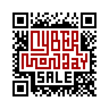 qrcode: Cyber Monday Lettering with QR-code. Eps8. RGB. Global colors