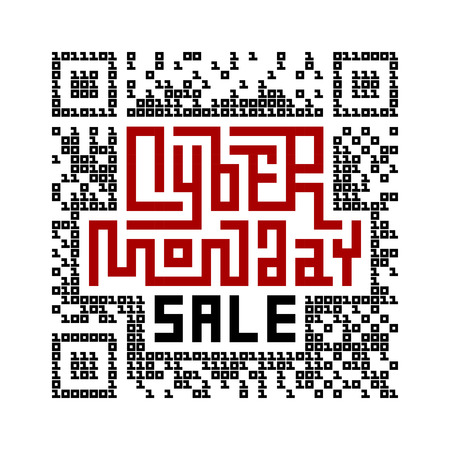 qrcode: Cyber Monday Sale Lettering with QR-code consist of binary code. Eps8. RGB. Global colors