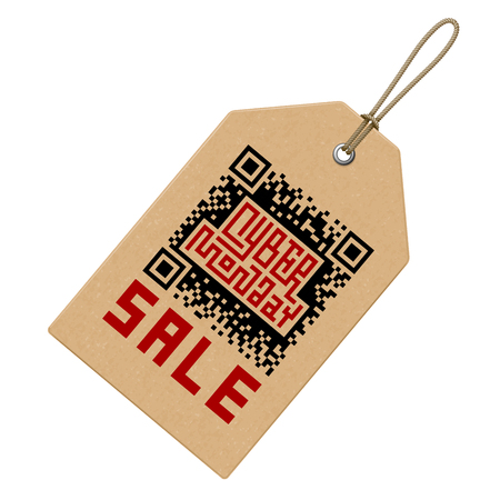 qrcode: Cyber Monday Sale Lettering with QR-code on Price Tag. Eps8. RGB. Global colors Illustration