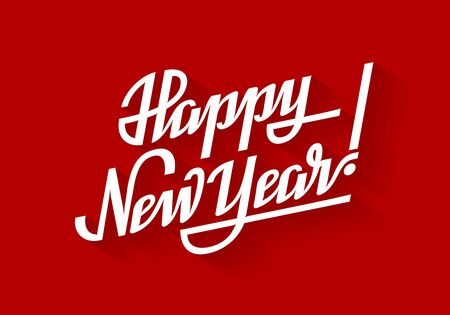 Happy New Year. Holiday vector lettering on red background. Eps8. RGB. Global colors Illustration
