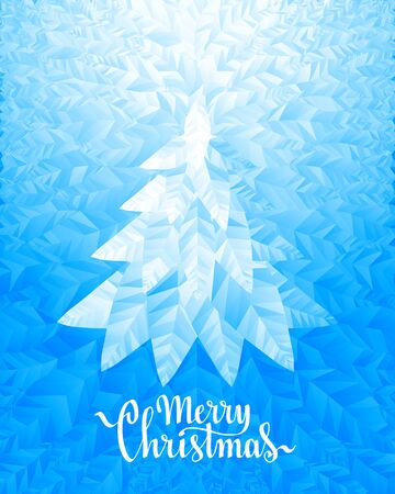 Christmas tree and Merry Christmas Lettering on ice background. Eps8. RGB. Global colors Illustration