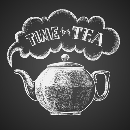 Teapot drawn on chalkboard with Time for Tea lettering. Eps8. RGB. Global colors