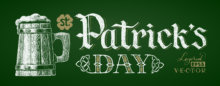 irish banners: St. Patricks Day. Chalk drawing