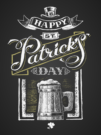 St. Patricks Day. Wooden beer mug. Chalk drawing