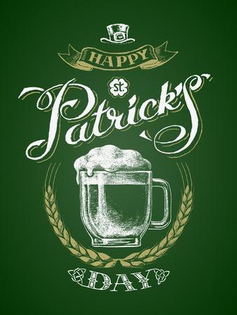 St. Patricks Day. Glass beer mug with barley wreath. Chalk drawing