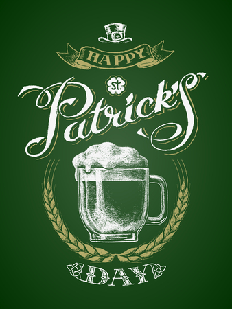 St. Patricks Day. Glass beer mug with barley wreath. Chalk drawing