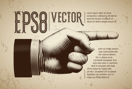 pointing hand: Vector hand with pointing finger in line engraving style Illustration