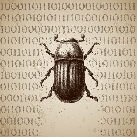 Vector software bug breaking binary code Illustration