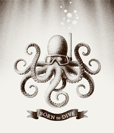 Octopus wearing a mask for diving under water. Vector illustration in style of vintage etchings Illustration