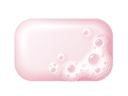 Barra di sapone con schiuma isolato su bianco. Facile vettore ricolorato