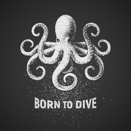 deep sea diver: Octopus. Born to dive. Chalk drawing on blackboard. T-shirt design
