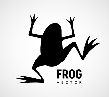 Frog silhouette. Black and white vector icon