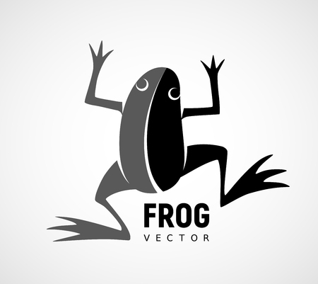 Frog silhouette. Black and white vector logo