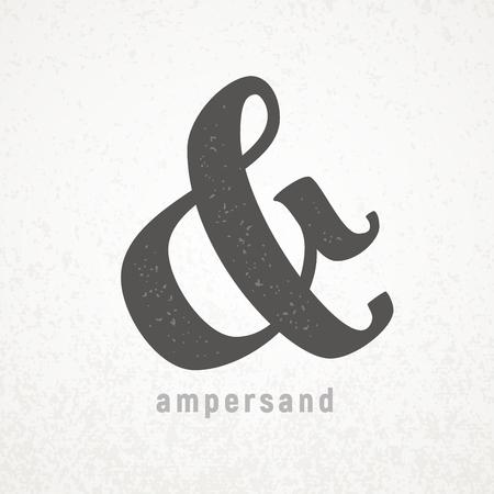 Ampersand Elegant vector symbol on grunge