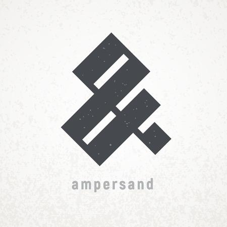 Ampersand. Elegant vector symbol on grunge background Illustration