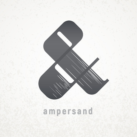 orthographic: Ampersand. Elegant vector symbol on grunge background Illustration
