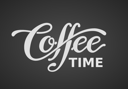 Coffee time. Lettering isolated on black background Vectores