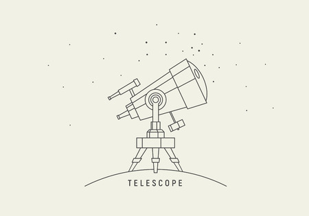 observation: Telescope. Line art vector.
